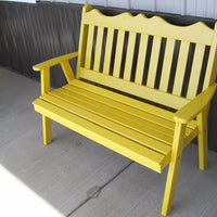 A&L Furniture Amish-Made Pine Royal English Garden Bench, Canary Yellow