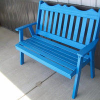 A&L Furniture Amish-Made Pine Royal English Garden Bench, Caribbean Blue