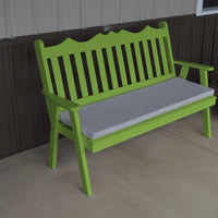 A&L Furniture Amish-Made Pine Royal English Garden Bench, Lime Green
