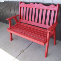 A&L Furniture Amish-Made Pine Royal English Garden Bench, Tractor Red