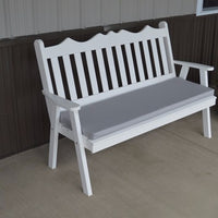 A&L Furniture Amish-Made Pine Royal English Garden Bench, White