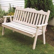 A&L Furniture Co. Amish-Made Cedar Royal English Garden Bench, Gray Stain
