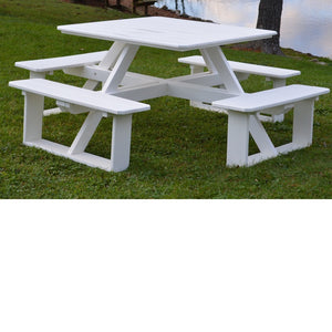"A&L Furniture Co. 44"" Amish-Made Square Poly Walk-In Picnic Tables"