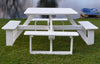 "A&L Furniture Co. 44"" Amish-Made Square Poly Walk-In Picnic Tables, White"