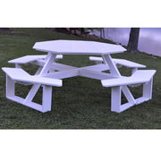 "A&L Furniture Co. 54"" Amish-Made Octagonal Poly Walk-In Picnic Table, White"