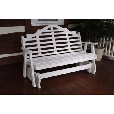 A&L Furniture Amish-Made Pine Marlboro Glider Bench, White