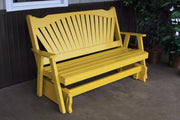 A&L Furniture Amish-Made Pine Fanback Glider Bench, Canary Yellow