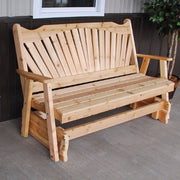 A&L Furniture Cedar Fanback Glider Bench, Unfinished