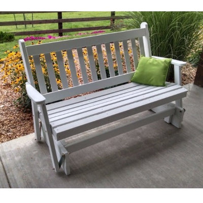 A&L Furniture Amish-Made Pine Traditional English Glider Bench, White