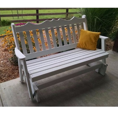 A&L Furniture Amish-Made Pine Royal English Glider Bench, White