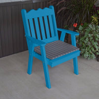 A&L Furniture Co. Amish-Made Pine Royal English Chair, Caribbean Blue