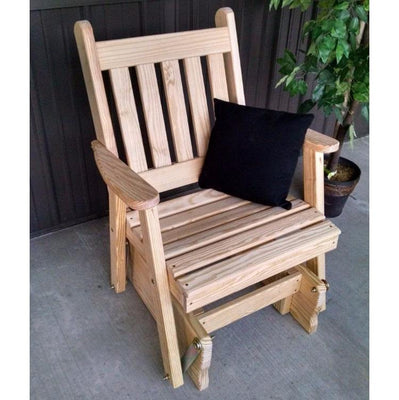 A&L Furniture Amish-Made Pine Traditional English Glider Chair, Unfinished