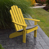 A&L Furniture Amish-Made Pine Kennebunkport Adirondack Chair, Canary Yellow