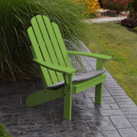 A&L Furniture Amish-Made Pine Kennebunkport Adirondack Chair, Lime Green