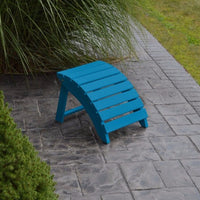 A&L Furniture Amish-Made Yellow Pine Folding Ottoman, Caribbean Blue