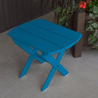 A&L Furniture Amish-Made Yellow Pine Folding Oval End Table, Caribbean Blue