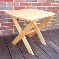 A&L Furniture Amish-Made Pressure-Treated Pine Folding Oval End Table, Cedar Stain