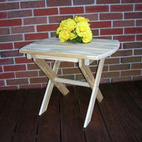 A&L Furniture Amish-Made Pressure-Treated Pine Folding Oval End Table, Unfinished