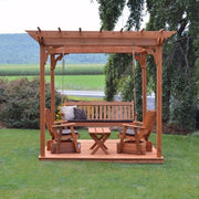 A&L Furniture Co. Amish-Made Cedar Pergola with Deck and Porch Swing, Cedar Stain