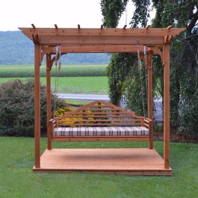 A&L Furniture Co. Amish-Made Cedar Pergola with Deck and Marlboro Swing Bed, Cedar Stain