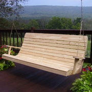 A&L Furniture Amish-Made Pressure-Treated Pine Highback Porch Swing, Unfinished