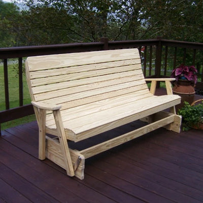 A&L Furniture Amish-Made Pressure-Treated Pine Highback Glider Bench, Unfinished