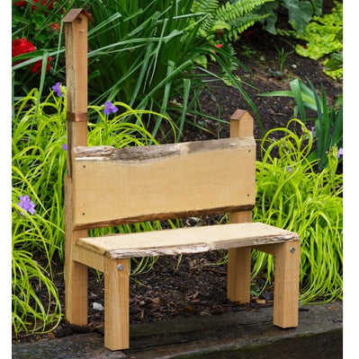 A&L Furniture Rustic Live Edge Bramblewood Bench with Decorative Birdhouse, Unfinished