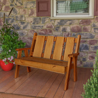 A&L Furniture Blue Mountain Series 4' Rustic Live Edge Timberland Garden Bench, Cedar Stain