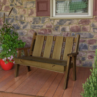 A&L Furniture Blue Mountain Series 4' Rustic Live Edge Timberland Garden Bench, Mushroom Stain