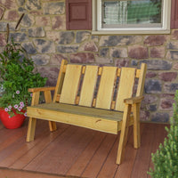 A&L Furniture Blue Mountain Series 4' Rustic Live Edge Timberland Garden Bench, Natural Stain