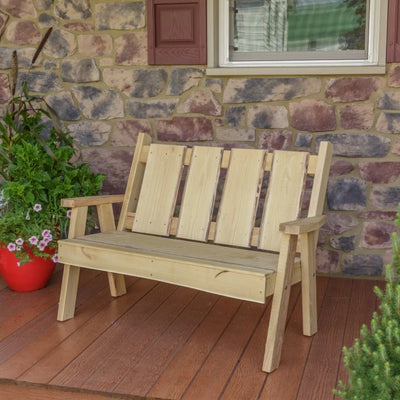 A&L Furniture Blue Mountain Series 4' Rustic Live Edge Timberland Garden Bench, Unfinished