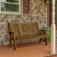 A&L Furniture Blue Mountain Series 5' Rustic Live Edge Timberland Garden Bench, Mushroom Stain