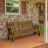 A&L Furniture Blue Mountain Series 6' Rustic Live Edge Timberland Garden Bench, Mushroom Stain