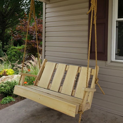 A&L Furniture Blue Mountain Series 4' Rustic Live Edge Timberland Porch Swing, Unfinished