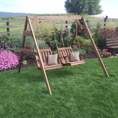 A&L Furniture Co. Amish-Made Cedar A-Frame Chair Swing Stand, Mushroom Stain