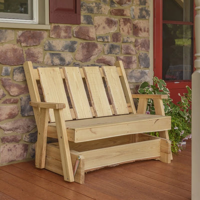 A&L Furniture Blue Mountain Series 4' Rustic Live Edge Timberland Glider Bench, Unfinished
