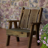A&L Furniture Blue Mountain Series Rustic Live Edge Timberland Chair, Mushroom Stain