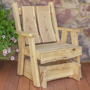 A&L Furniture Blue Mountain Series Rustic Live Edge Timberland Glider Chair, Unfinished