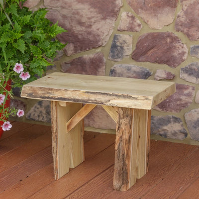 A&L Furniture Blue Mountain Series 2' Rustic Live Edge Wildwood Picnic Bench, Unfinished