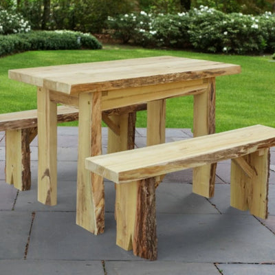 A&L Furniture Blue Mountain Series 4' Rustic Live Edge Picnic Table with Benches, Unfinished