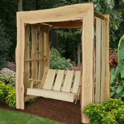 A&L Furniture Blue Mountain Rustic Live Edge Appalachian Arbor with Timberland Swing, Unfinished