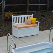 A&L Furniture Poly Traditional English Storage Bench by the pool
