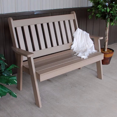 A&L Furniture Amish-Made Poly Traditional English Garden Bench, Weathered Wood