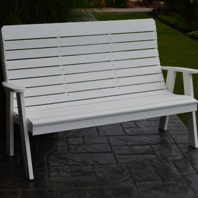 A&L Furniture Amish-Made Poly Winston Garden Bench, White