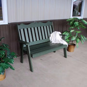 A&L Furniture Amish-Made Poly Royal English Garden Bench, Turf Green