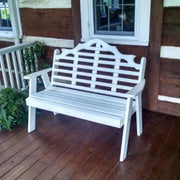 A&L Furniture Amish-Made Poly Marlboro Garden Bench, White