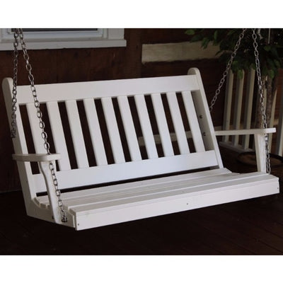 A&L Furniture Amish-Made Poly Traditional English Porch Swing, White