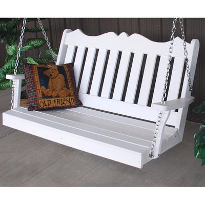 A&L Furniture Amish-Made Poly Royal English Porch Swing, White