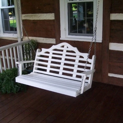 A&L Furniture Amish-Made Poly Marlboro Porch Swing, White