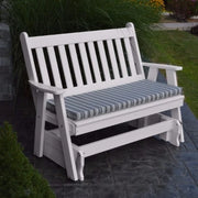 A&L Furniture Amish-Made Poly Traditional English Glider Bench, White